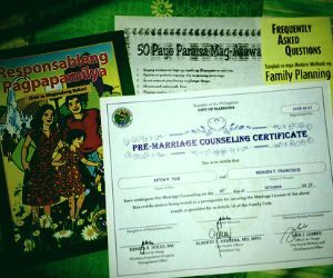 Marikina Pre-Marriage Counseling Flyers and Certificate